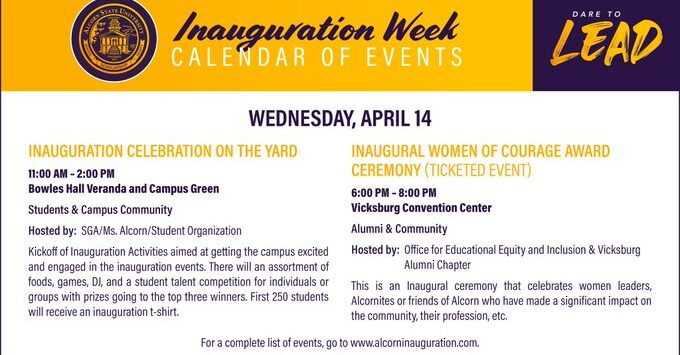 Inauguration Week Calendar of Events